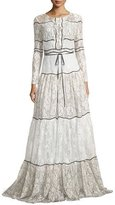 Sachin + Babi Sara Long-Sleeve Paneled Lace Gown, Ivory