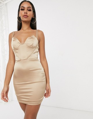 Femme Luxe plunge front corset top bodycon dress in champagne-Beige