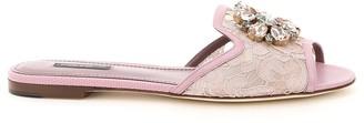 Dolce & Gabbana white mules taormina lace