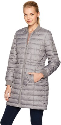 Kenneth Cole Women's Lightweight Anorak Jacket Puffer Varsity with Rib Knit Trims