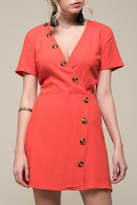 Moon River Asymmetrical Button Dress