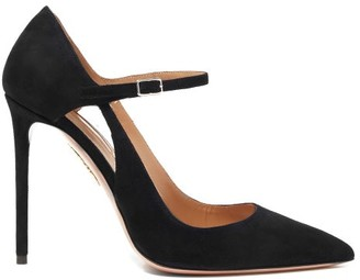 Aquazzura Helmut 105 Suede Mary-jane Pumps - Black