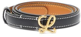 Loewe Monogram-buckle Leather Belt - Black Gold