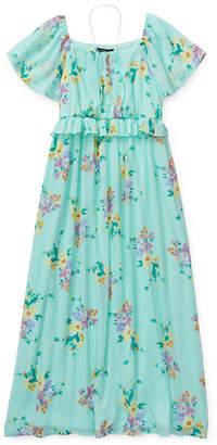 My Michelle Girls Short Sleeve Flutter Sleeve Floral Maxi Dress - Preschool / Big Kid