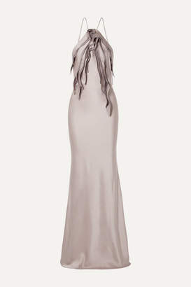 Jason Wu Collection - Ruffled Chiffon-trimmed Satin Gown - Lilac