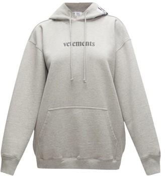 Vetements Logo-print Cotton-blend Jersey Hooded Sweatshirt - Womens - Grey
