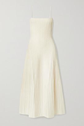 CASASOLA Carlotta Ribbed Stretch-knit Midi Dress - Ivory