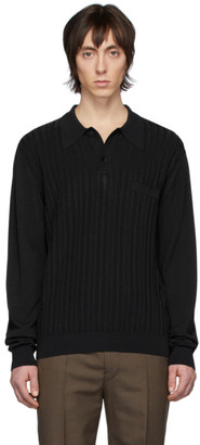 Lemaire Black Knit Long Sleeve Polo