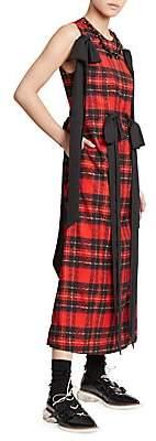 Simone Rocha Women's Beaded & Bowed Tartan Dress