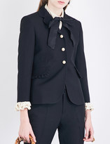 Gucci Ruffled silk and wool-blend jacket