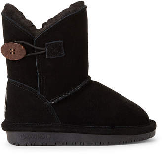 BearPaw Toddler Girls) Black Rosie Button Shearling-Lined Boots