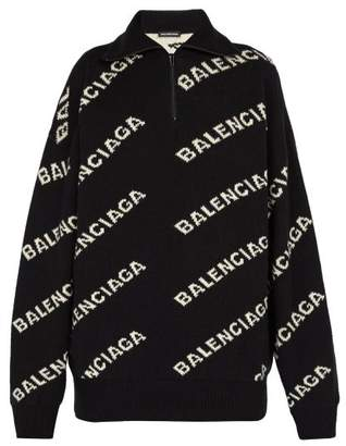 Balenciaga Intarsia Logo Half Zip Sweater - Mens - Black White
