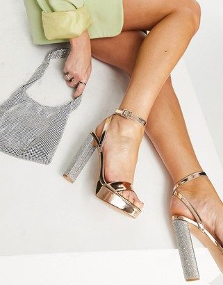 ASOS DESIGN Natasha platform barely-there heeled sandals in rose gold