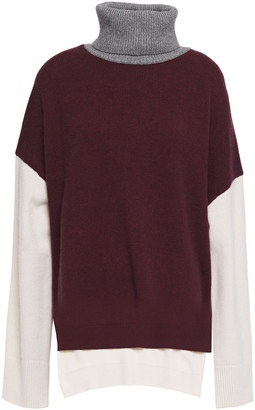 Co Color-block Wool And Cashmere-blend Turtleneck Sweater