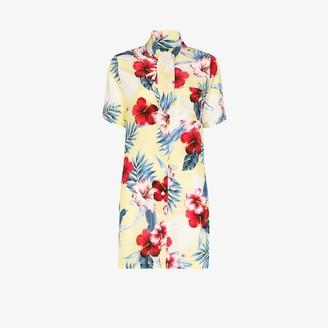 Les Rêveries Tropical flower print silk dress