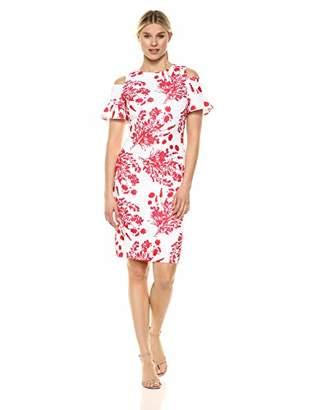 Calvin Klein Women's Cold Shoulder Sheath Dress Back Zipper