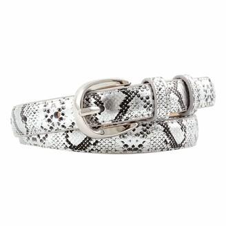 Samsn Ladies Snakeskin Print Belt Pu Leather Gold Pin Buckle Belt Dress Jeans Belt Clothing Accessories
