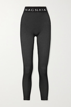 NAGNATA + Space For Giants Laya Ribbed Technical Stretch-knit Leggings - Black