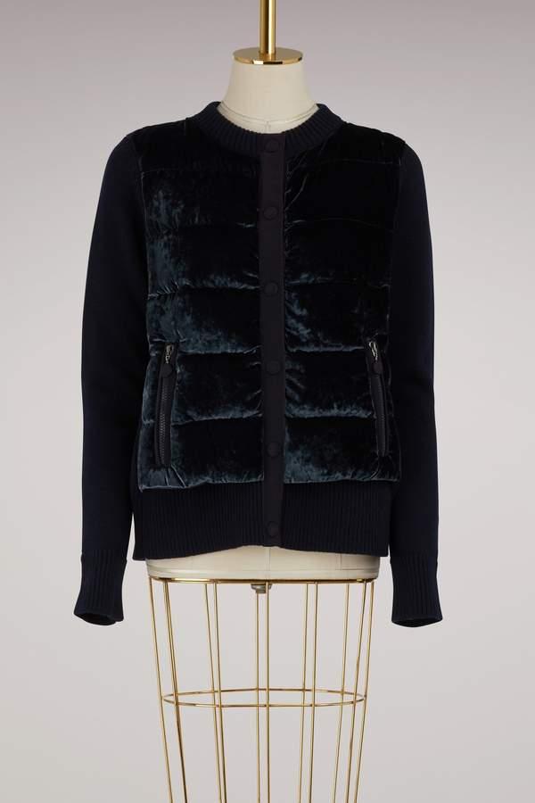 Moncler Knitted and velvet bomber jacket
