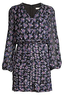 Shoshanna Women's Olaya Floral Ruched Mini Blouson Dress