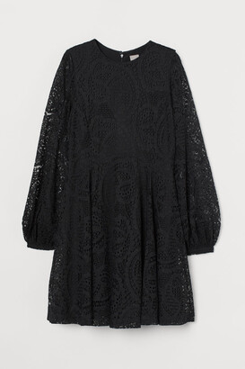 H&M Lace Skater Dress - Black