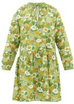 D'Ascoli Lulu Tie-neck Floral-print Cotton Dress - Womens - Green Print