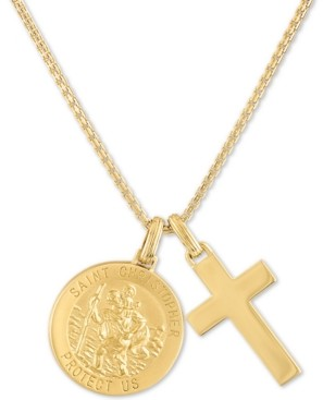 "Esquire Men's Jewelry St. Christopher & Cross 24"" Pendant Necklace in 14k Gold-Plated Sterling Silver, Created for Macy's"