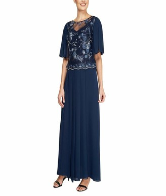 Le Bos Women's Embroidered Sequin MESH Pleated Long Dress
