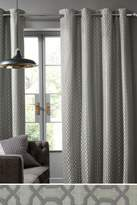 Next Woven Geo Eyelet Curtains - Silver