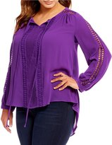 Peter Nygard Plus Crochet Trimmed Peasant Blouse