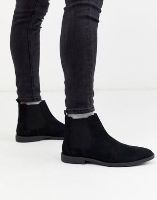 Burton Menswear suede chelsea boot in black