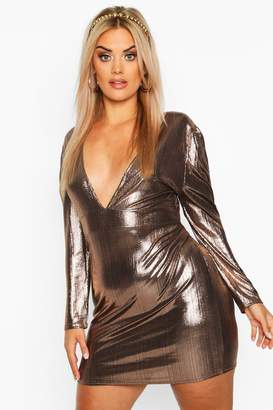 boohoo Plus Metallic Puff Sleeve Plunge Mini Dress