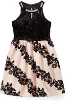 Speechless Black & Pink Lace-Accent Yoke Dress - Girls
