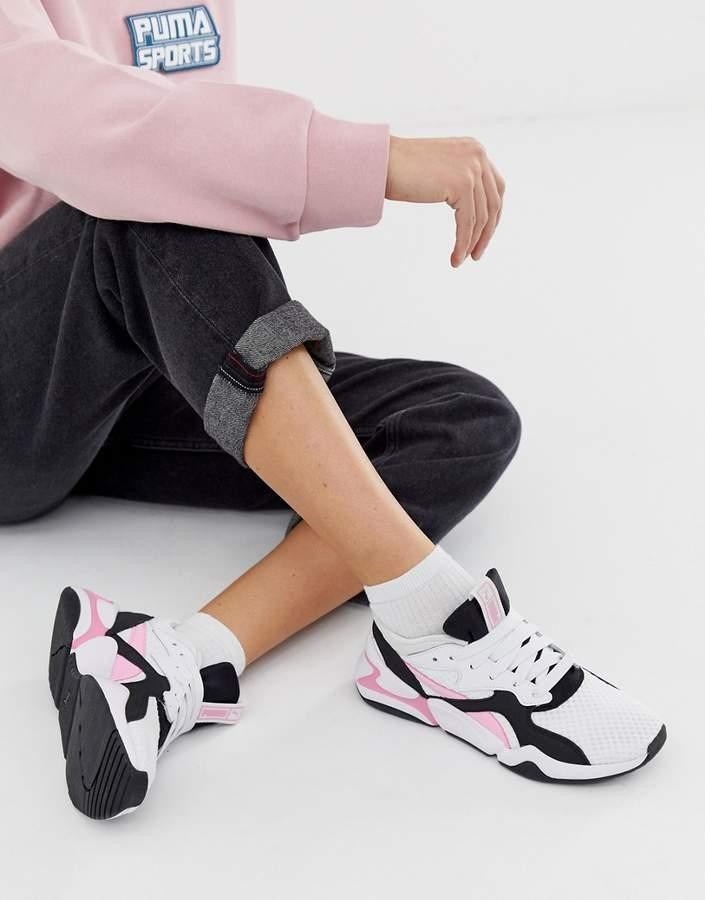 9089930110c Nova 90'S block white and pink sneakers