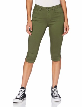 Vero Moda Women's VMHOT Seven MR Pushup Slit Knicker Color Khakis