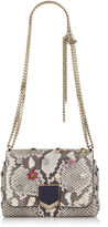 Jimmy Choo LOCKETT PETITE Natural Python Shoulder Bag with Crystal Buttons and Metal Studs