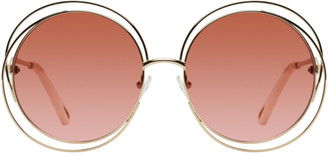 Chloé Gold and Pink Circular Spiralling Sunglasses