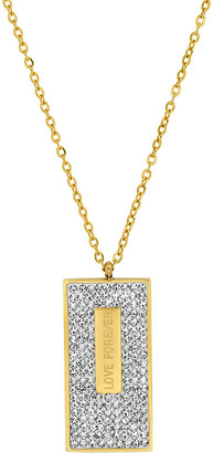 Steel Time Women's Necklaces yellow - Simulated Diamond & 18k Gold-Plated 'Love Forever' Dog Tag Necklace
