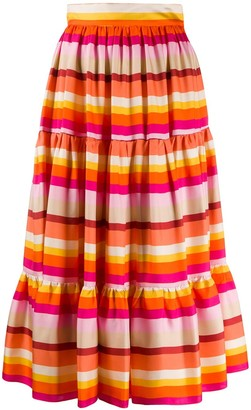 Gianluca Capannolo Striped Tiered Silk Skirt