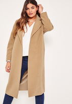 Missguided Plus Size Camel Longline Faux Wool Duster Coat