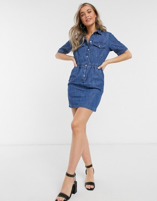 Miss Selfridge denim shirt dress in mid wash