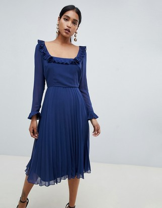 Asos Design DESIGN pleated ruffle square neck midi dress with long sleeves-Navy