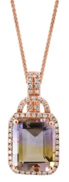"Macy's Lali Jewels Ametrine (4-1/2 ct. t.w.) & Diamond (1/5 ct. t.w.) 18"" Pendant Necklace in 14k Rose Gold"