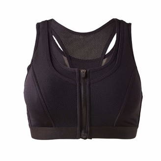 Mawoly Mesh Seams Zip Closure Sports Bra Y-Shaped Backs Elastic Breathable Yoga Mountaineering Vest Easy Top Ladies Seamless Zip Closure Bra Breathable Sport Vest Nets Quakeproof Underwear Black