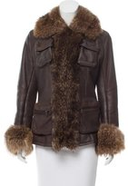 Ventcouvert Fur-Trimmed Leather Jacket
