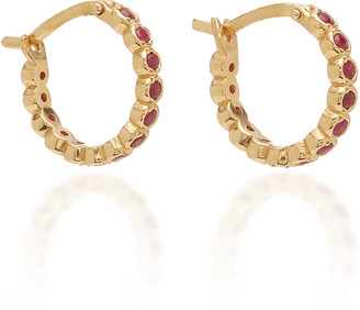 Octavia Elizabeth Chloe Ruby and 18K Gold Hoop Earrings