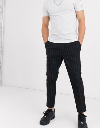 New Look slim crop pinstripe trousers in black