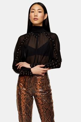 Topshop Womens Black Eyelet Long Sleeve Blouse - Black