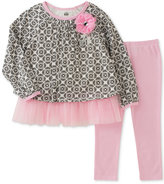 Kids Headquarters 2-Pc. Tulle-Trim Printed Tunic and Leggings Set, Baby Girls (0-24 months)