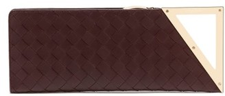Bottega Veneta Rim Intrecciato-leather Clutch - Womens - Brown